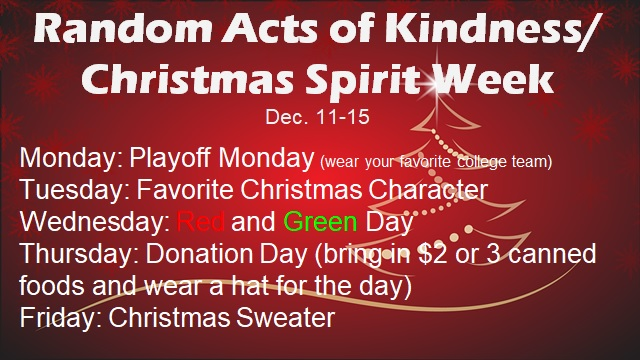 burgandy poster announcing Random Act of Kindness week